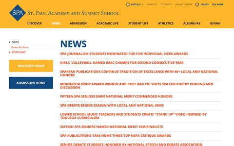 Screenshot of Press Page spa.edu - St. Paul Academy and Summit School: News - captured Oct. 18, 2018