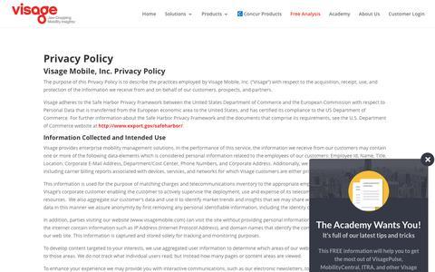 Screenshot of Privacy Page visagemobile.com - Visage - Privacy Policy - captured Aug. 19, 2016