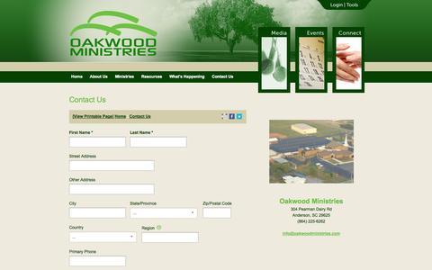Screenshot of Contact Page oakwoodministries.com - Oakwood Baptist Church | Contact Us - captured Oct. 7, 2014