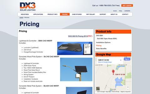 Screenshot of Pricing Page dx3solarlighting.com - Solar Street Light Price - DX3 Solar - captured Oct. 2, 2014