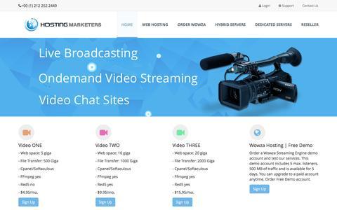 Screenshot of Home Page hosting-marketers.com - Red5 Hosting | RTMP Hosting | FFmpeg Hosting - captured Aug. 23, 2016