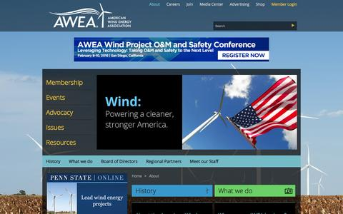Screenshot of About Page awea.org - About - captured Jan. 20, 2016