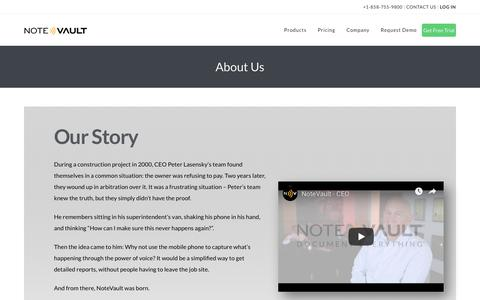 Screenshot of About Page notevault.com - About Us - NoteVault - captured May 19, 2019