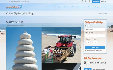 Screenshot of Blog ocmdhotels.com - Ocean City Blog, Ocean City Maryland - captured Sept. 22, 2014