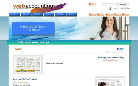Screenshot of Press Page webaccounting.co.za - News - captured Oct. 7, 2014
