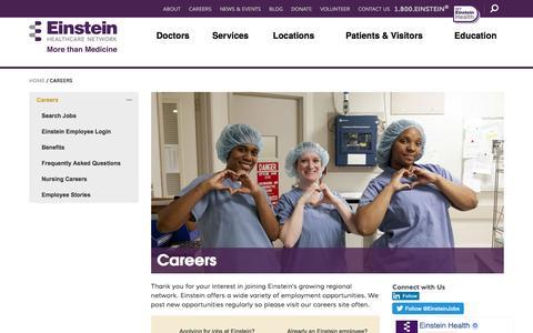 Screenshot of Jobs Page einstein.edu - Careers - Einstein Health - captured May 9, 2017
