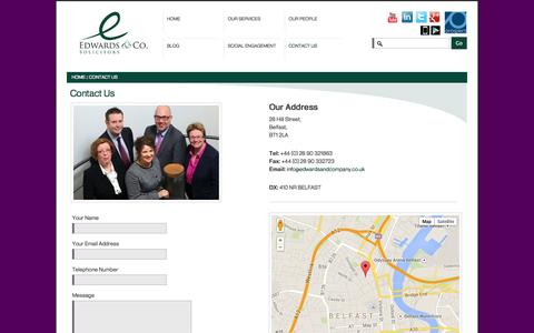 Screenshot of Contact Page edwardsandcompany.co.uk - Solicitors Belfast| Edwards & Co. Belfast| NI| Contact Us - captured Oct. 2, 2014