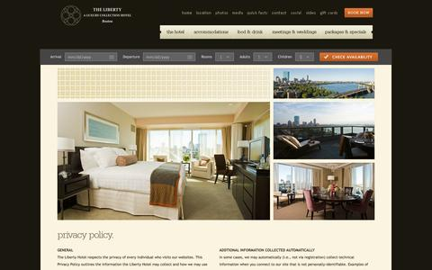Screenshot of Privacy Page libertyhotel.com - Privacy Policy - The Liberty Hotel - Boston - captured Oct. 27, 2014