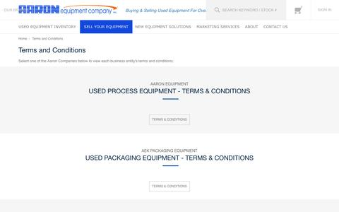 Screenshot of Terms Page aaronequipment.com - Terms and Conditions - captured Aug. 27, 2016