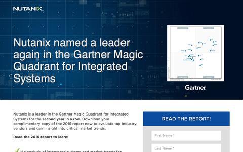 Screenshot of Landing Page nutanix.com - Gartner 2016 MQ for Integrated Systems - Nutanix Named a Leader - captured Dec. 16, 2016