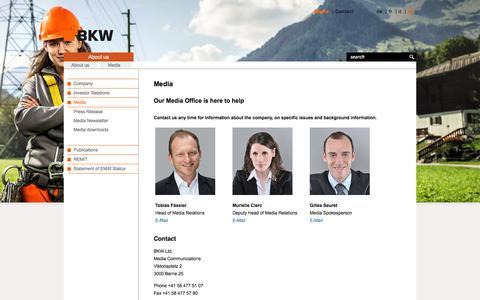 Screenshot of Press Page bkw.ch - Media - BKW Energy Ltd. - captured Nov. 5, 2014