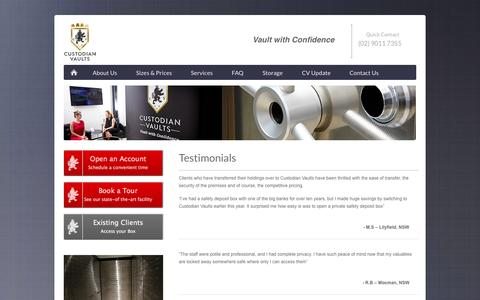 Screenshot of Testimonials Page custodianvaults.com.au - Client Testimonials | Custodian Vaults - captured Oct. 29, 2014