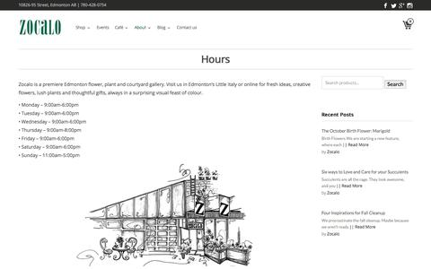 Screenshot of Hours Page zocalo.ca - Hours - Zocalo Edmonton - captured Oct. 26, 2017