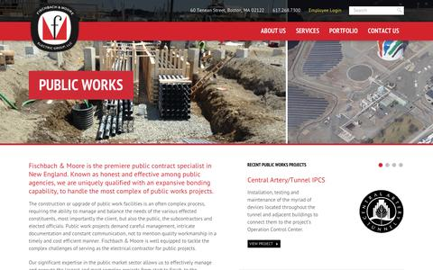 Screenshot of Services Page fbmpower.com - Public Works - Fischbach - captured Feb. 10, 2016