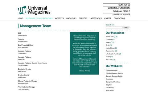 Screenshot of Team Page universalmagazines.com.au - Management Team - Universal Magazines - captured Sept. 25, 2014