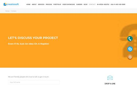 Screenshot of Contact Page creatiosoft.com - Contact us for Game Development Querie - Creatiosoft - captured Sept. 23, 2018