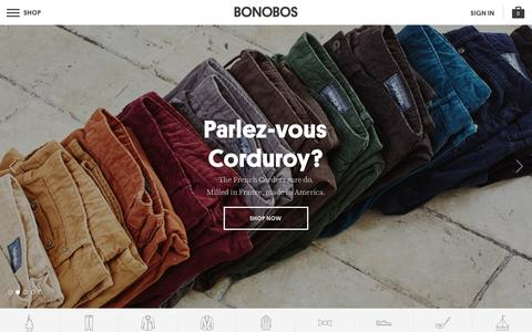 Screenshot of Home Page bonobos.com - Better-Fitting, Better-Looking Men's Clothing & Accessories | Bonobos - captured Sept. 20, 2015