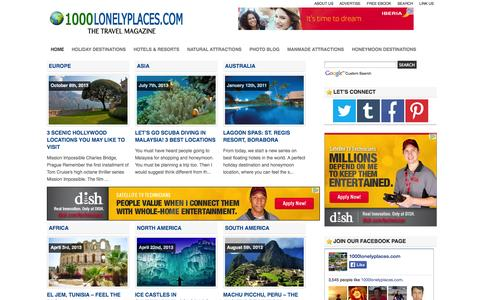 Screenshot of Home Page 1000lonelyplaces.com - A WEEKEND BREAK - captured Sept. 19, 2014