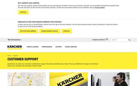 Screenshot of Support Page kaercher.com - Services   Kärcher International - captured Oct. 3, 2018