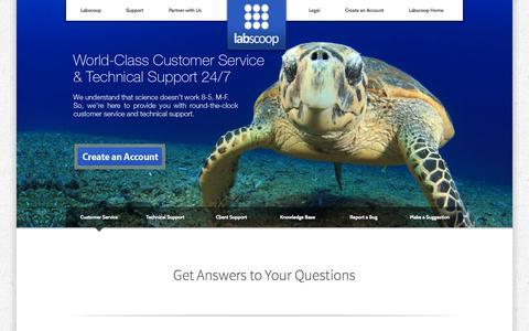 Screenshot of Support Page labscoop.com - Labscoop.com | Customer Service - captured Sept. 27, 2014