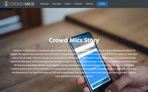Screenshot of About Page crowdmics.com - About Crowd Mics Story & It's Founders Tim & Sean Holladay - captured May 23, 2017