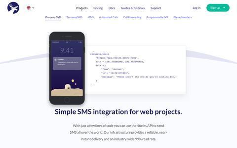 Screenshot of Products Page 46elks.com - 46elks - One-way SMS - captured Sept. 30, 2018