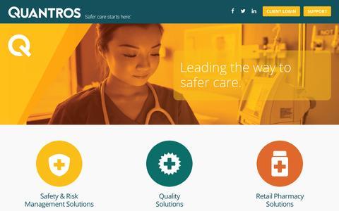 Screenshot of Home Page quantros.com - Quantros, Inc. | Safer care starts here - captured Dec. 3, 2015