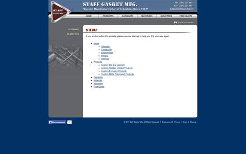 Screenshot of Site Map Page staffgasket.com - Sitemap - Staff Gasket Manufacturing, Inc. - captured Nov. 5, 2014