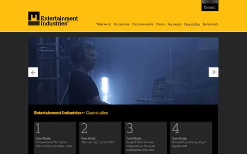 Screenshot of Case Studies Page e-i.co.uk - Entertainment Industries® - Case Studies - captured Oct. 3, 2014