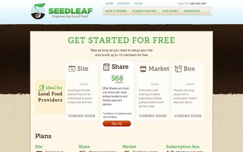 Screenshot of Pricing Page seedleaf.com - Seedleaf - captured Oct. 26, 2014