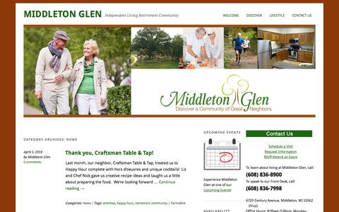 Screenshot of Press Page middletonglen.com - News | - captured April 15, 2016