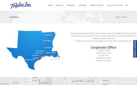 Screenshot of Locations Page triplex-inc.com - Locations - Triplex, Inc. - captured Feb. 25, 2016