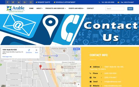 Screenshot of Contact Page arablecorp.com - ArableCorp | Contact Us - captured Oct. 8, 2017