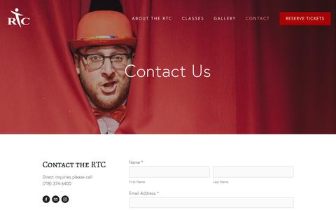 Screenshot of Contact Page rockawaytheatrecompany.org - Contact — Rockaway Theatre Company - captured Oct. 20, 2018