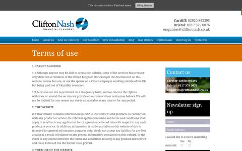 Screenshot of Terms Page cliftonnash.co.uk - Terms of use - Clifton Nash : Clifton Nash - captured Sept. 28, 2018