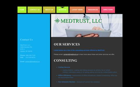 Screenshot of Services Page medtrust.us - Services | Medical Billing Services | Medical Billing Consulting - captured Oct. 18, 2017