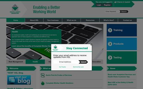 Screenshot of Home Page hsl.gov.uk - Home - HSL - captured Sept. 27, 2018