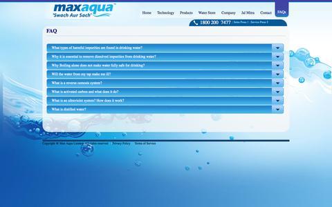 Screenshot of FAQ Page maxaqua.in - Max Aqua - captured Oct. 27, 2014