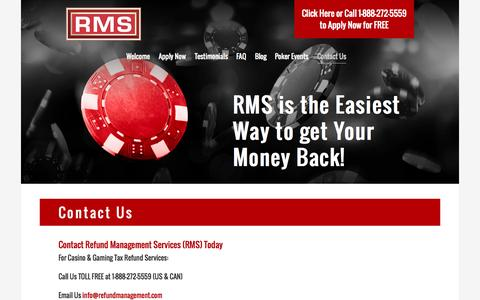 Screenshot of refundmanagement.com - Contact RMS | US Tax Refund Management Services - captured Aug. 14, 2015