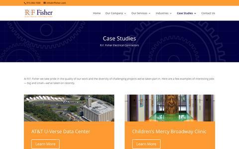 Screenshot of Case Studies Page rffisher.com - Case Studies   R.F. Fisher Electric Company - captured Feb. 28, 2016