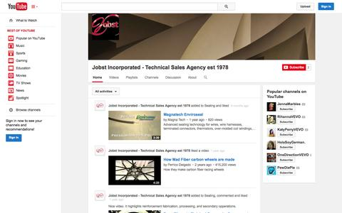 Screenshot of YouTube Page youtube.com - Jobst Incorporated - Technical Sales Agency est 1978  - YouTube - captured Nov. 3, 2014