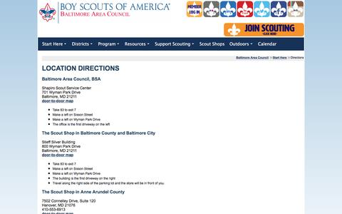 Screenshot of Maps & Directions Page baltimorebsa.org - Directions - captured Nov. 22, 2016