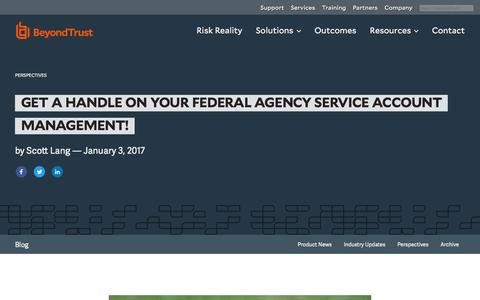 Screenshot of Team Page beyondtrust.com - Get a Handle on Your Federal Agency Service Account Management! | BeyondTrust - captured Dec. 14, 2019