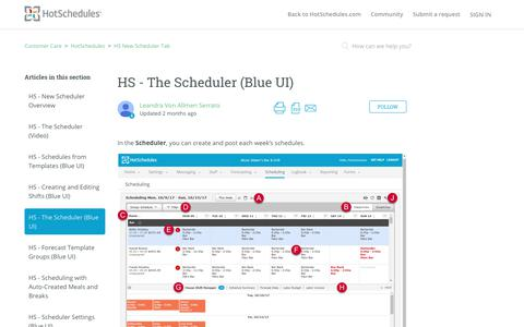 Screenshot of Support Page hotschedules.com - HS - The Scheduler (Blue UI) – Customer Care - captured March 8, 2018