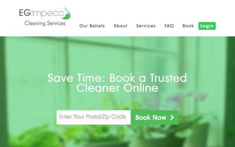 Screenshot of Home Page egimpecc.com - E.G. Impecc Cleaning Services - captured June 16, 2015