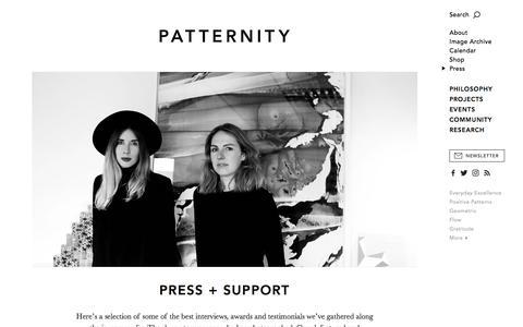 Screenshot of Press Page patternity.org - Patternity - captured July 13, 2018