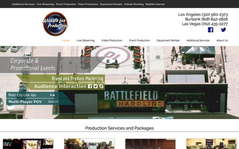 Screenshot of Home Page absoluteliveproductions.com - Absolute Live Productions - Live Event Streaming - captured July 24, 2016