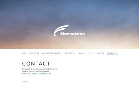 Screenshot of Contact Page norautron.com - Contact | Norautron - captured Feb. 15, 2016