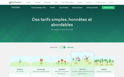 Screenshot of Pricing Page freshdesk.com - Tarifs Freshdesk | Forfaits payants à partir de 19 € /mois - captured Nov. 20, 2018