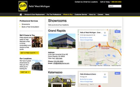 Screenshot of Contact Page Locations Page pellawestmichigan.com - Showrooms - Pella West Michigan - captured Oct. 22, 2014